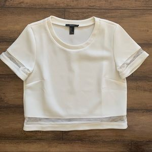 Forever 21 White Mesh Crop Top